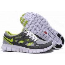 half off 8fe83 f842d Femme Running (blanc gris vert fluorescent) Chaussures Nike Free Run 2+  apQIo