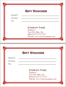 Gift Vouchers Template At Word Doents