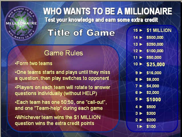 Who Wants To Be A Millionaire PowerPoint Review Game Template Even Comes With Sound