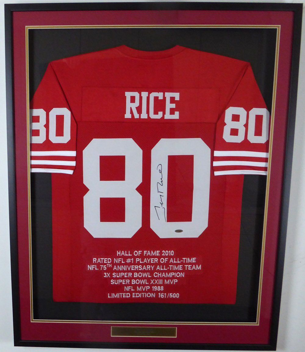 best sneakers 2399b 3d1ee San Francisco 49ers Jerry Rice Autographed Framed Red Jersey ...