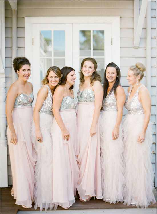 sparkly and pink flowy bridesmaid dresses http://www.weddingchicks ...