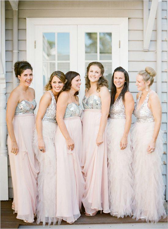 sparkly and pink flowy bridesmaid dresses http://www.weddingchicks ...