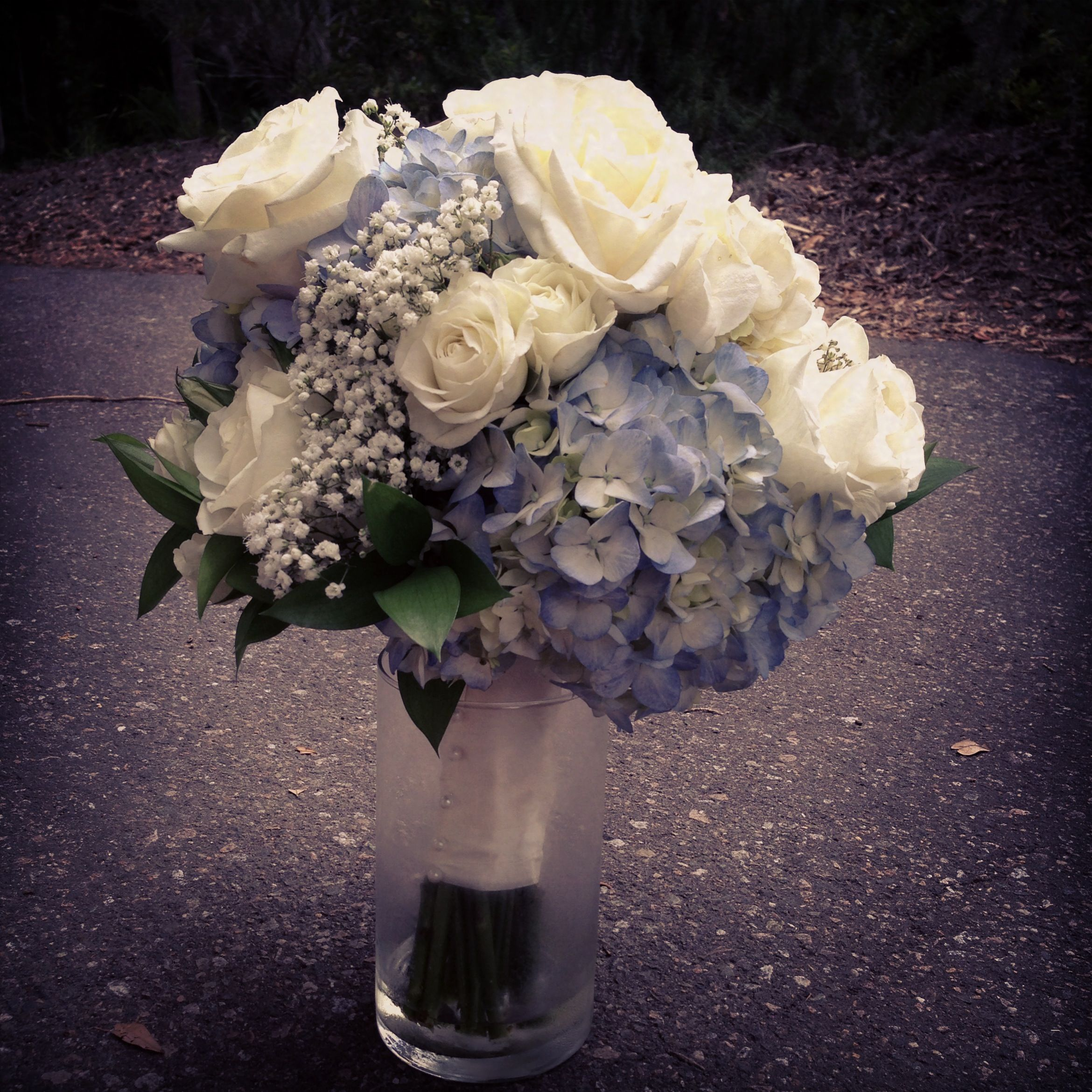 Blue Hydrangeas White Roses Baby S Breath Bridal Bouquet Bridal Bouquet Summer Flower Bouquet Wedding Hydrangea Bouquet Wedding