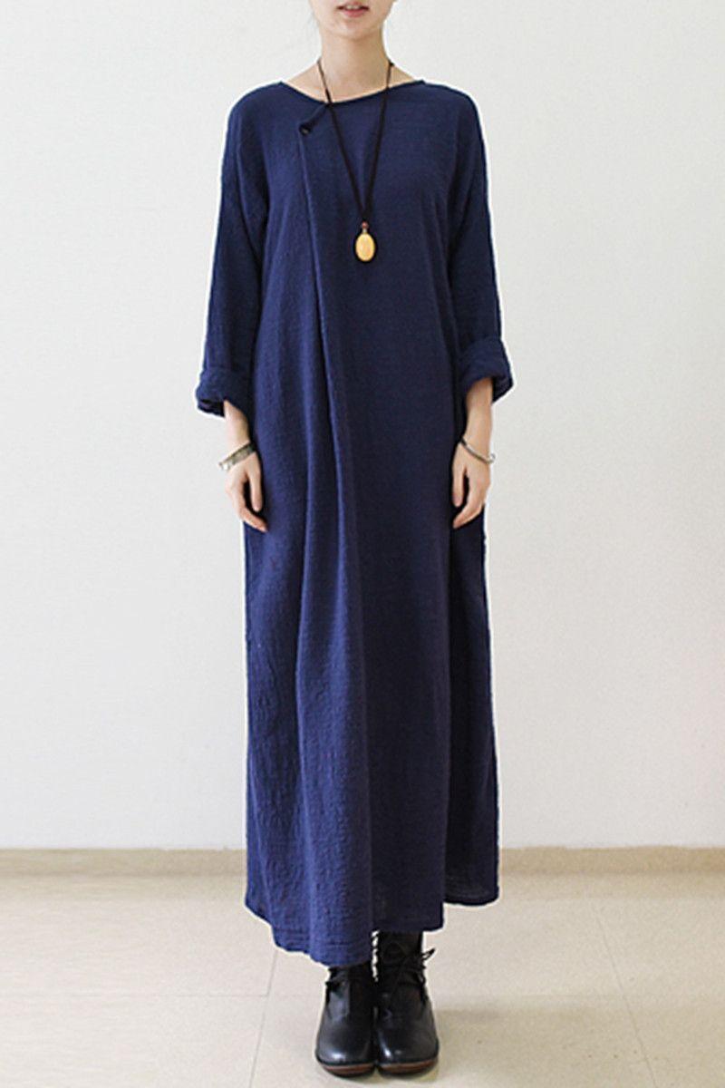 fall irregular blue cotton linen dresses long sleeve caftans