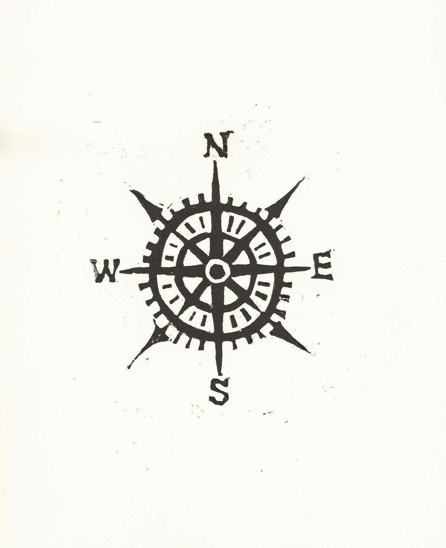 Compass Linocut Print Cardinal Directions Letterpress Nautical