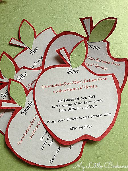 Snow White Birthday Party Invitation by My Little Bookcase Party