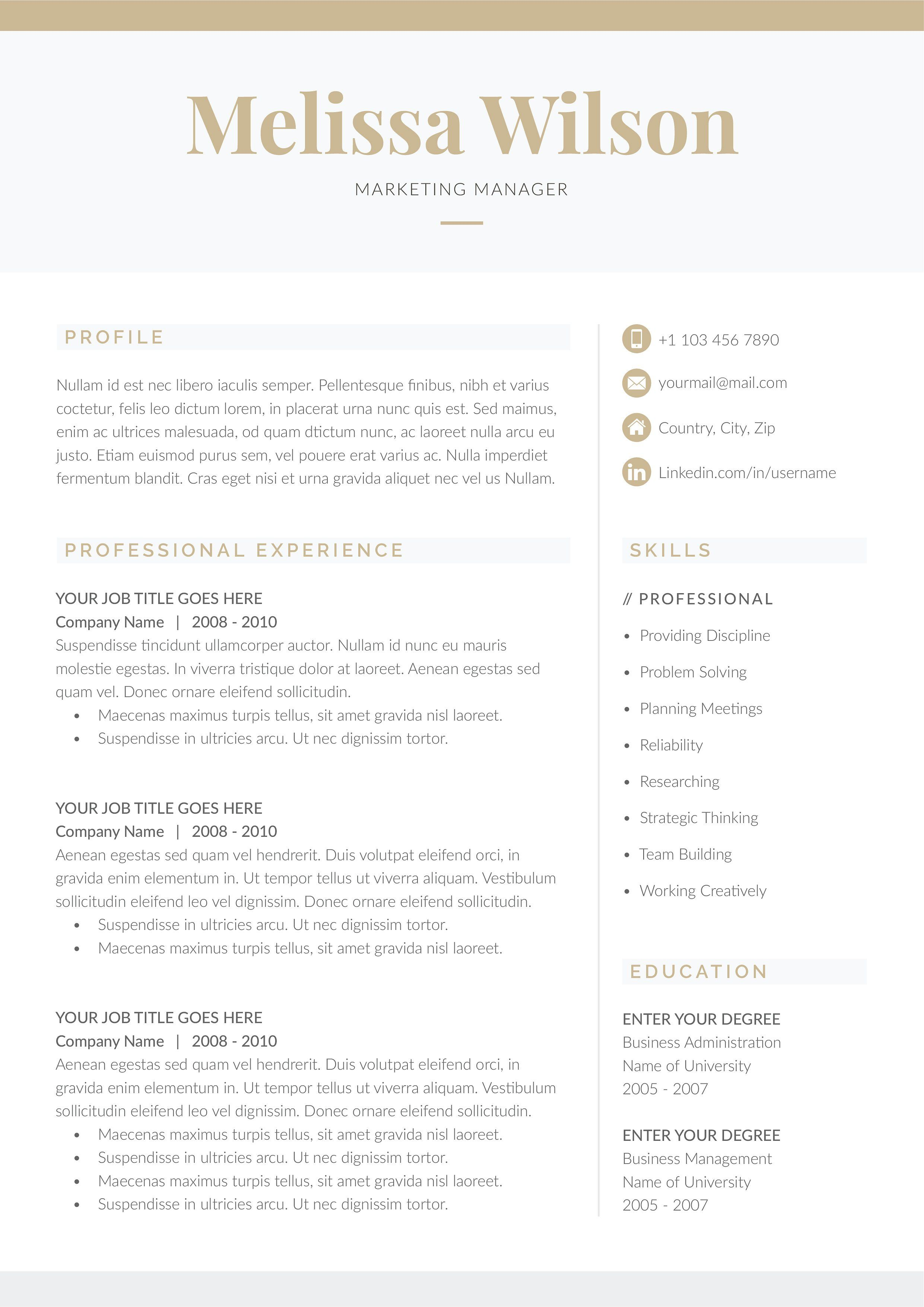Word Resume  Cover Letter Template    Resume Cover