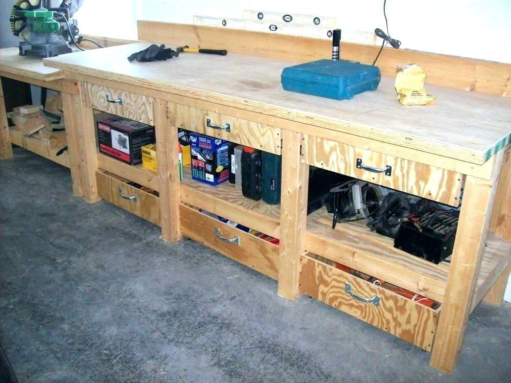 Simple Workbench Plans Garage Work Bench Workbench With Drawers