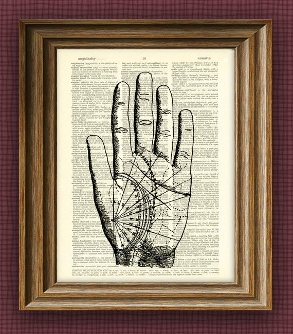PALM READING CHART beautifully upcycled vintage by collageOrama, $7,99