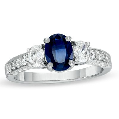 Oval Sapphire and 5/8 CT. T.W. Diamond Three Stone Ring in 14K White Gold