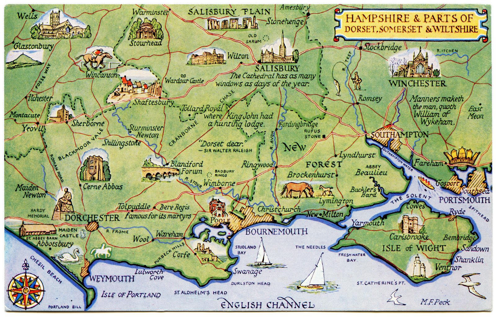 map of wiltshire and hampshire Postcard Map Of Hampshire And Parts Of Dorset Somerset And map of wiltshire and hampshire