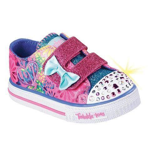 Girls' Skechers Twinkle Toes Shuffles Baby Love Sneaker Hot