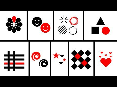 Baby Sensory Black White Red Animation Shapes Patterns Visual Stimulation Baby Sensory Card Pattern Baby Flash Cards