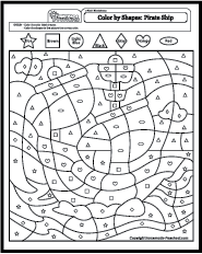 Math Worksheets Shapes Coloring Worksheets For Kindergarten Shape Coloring Pages Pirate Coloring Pages