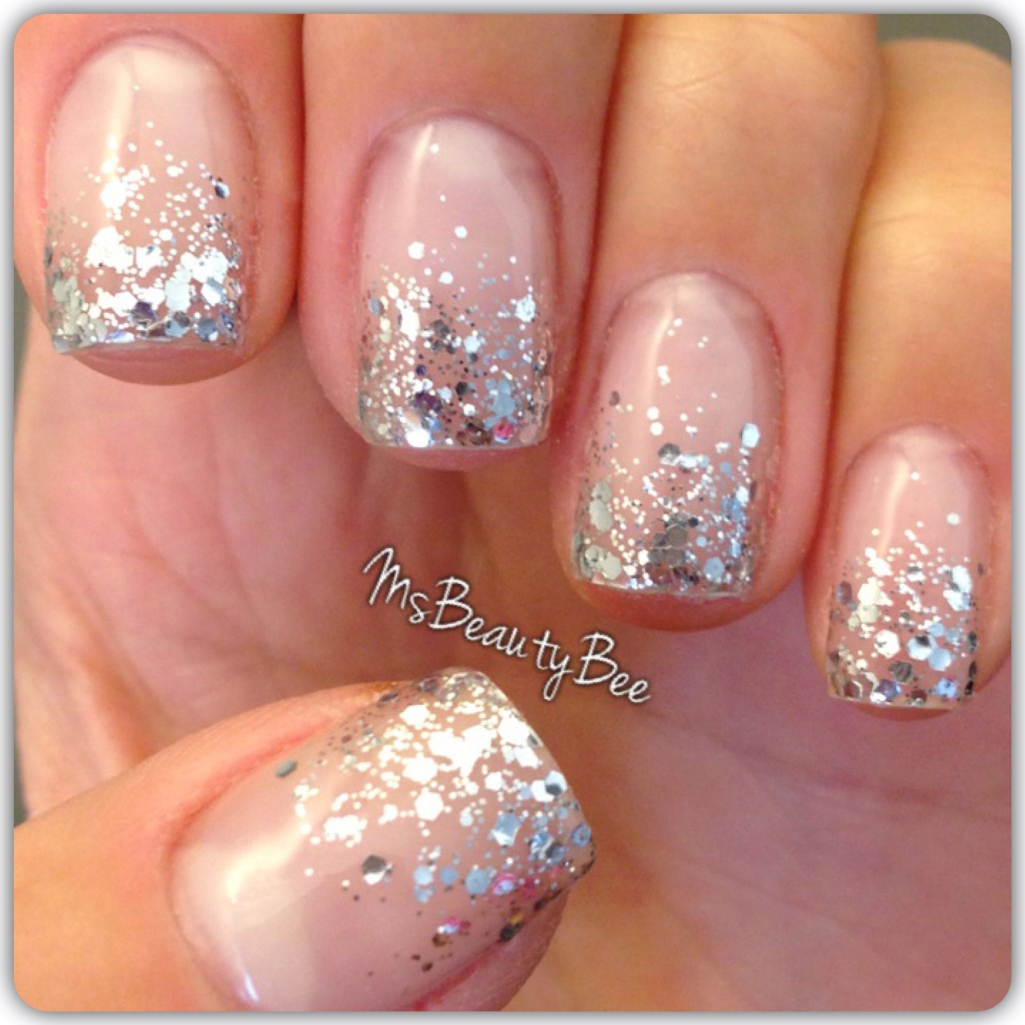 Dripping in Diamonds Elegant silver glitter gradient nails. Colors ...