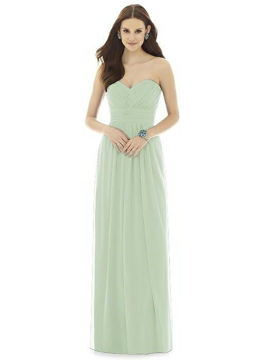 ac0471cd36 Alfred Sung Bridesmaid Dress Style D725 in Celadon. From Dessy Group. Full  length strapless chiffon knit dress w  sweetheart neckline