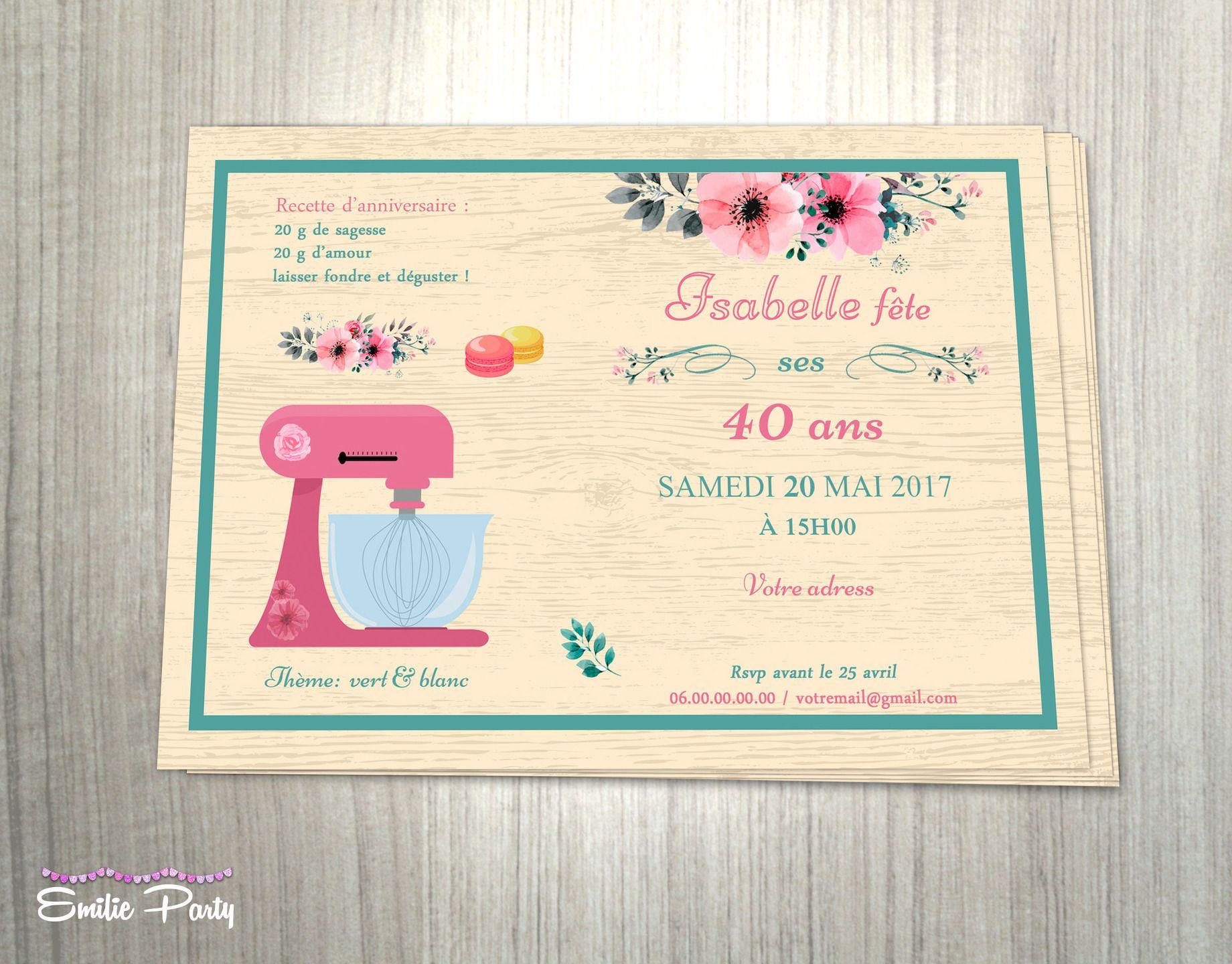 Invitation Depart En Retraite Theme Recette Florale Birthday Invitations Invitations 30th Birthday