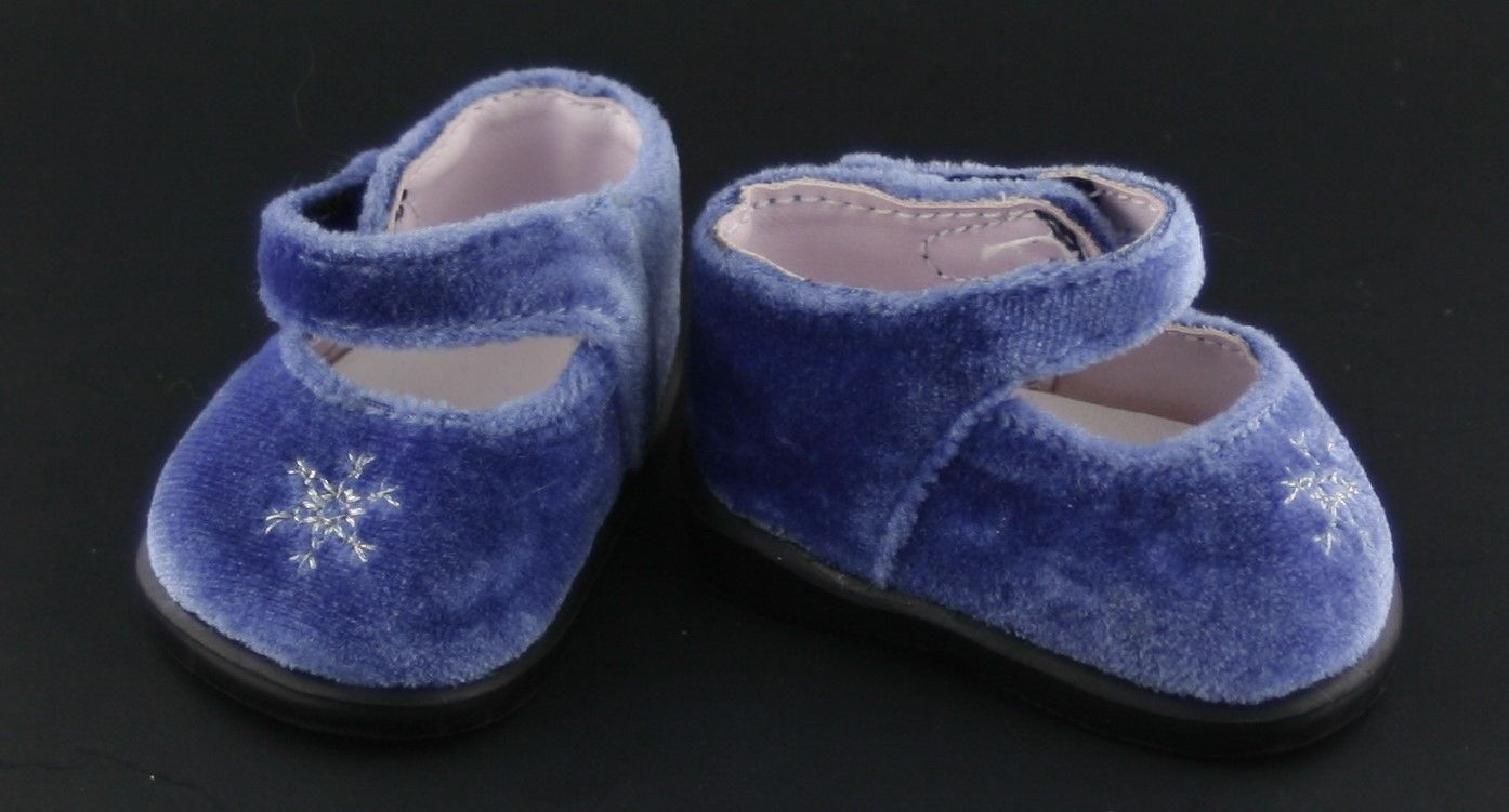 American Girl Bitty Baby Shoes Blue Velvet Silver Bells Mary Janes