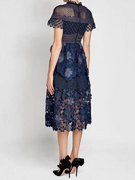 acf1acc2b9a2 Shop Navy Blue Mesh Panel 3D Floral Lace Double Layer Midi Dress from choies.com  .Free shipping Worldwide.$39.99