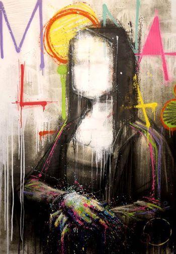 By Zest Mona Lisa Graffiti Art Painting Art