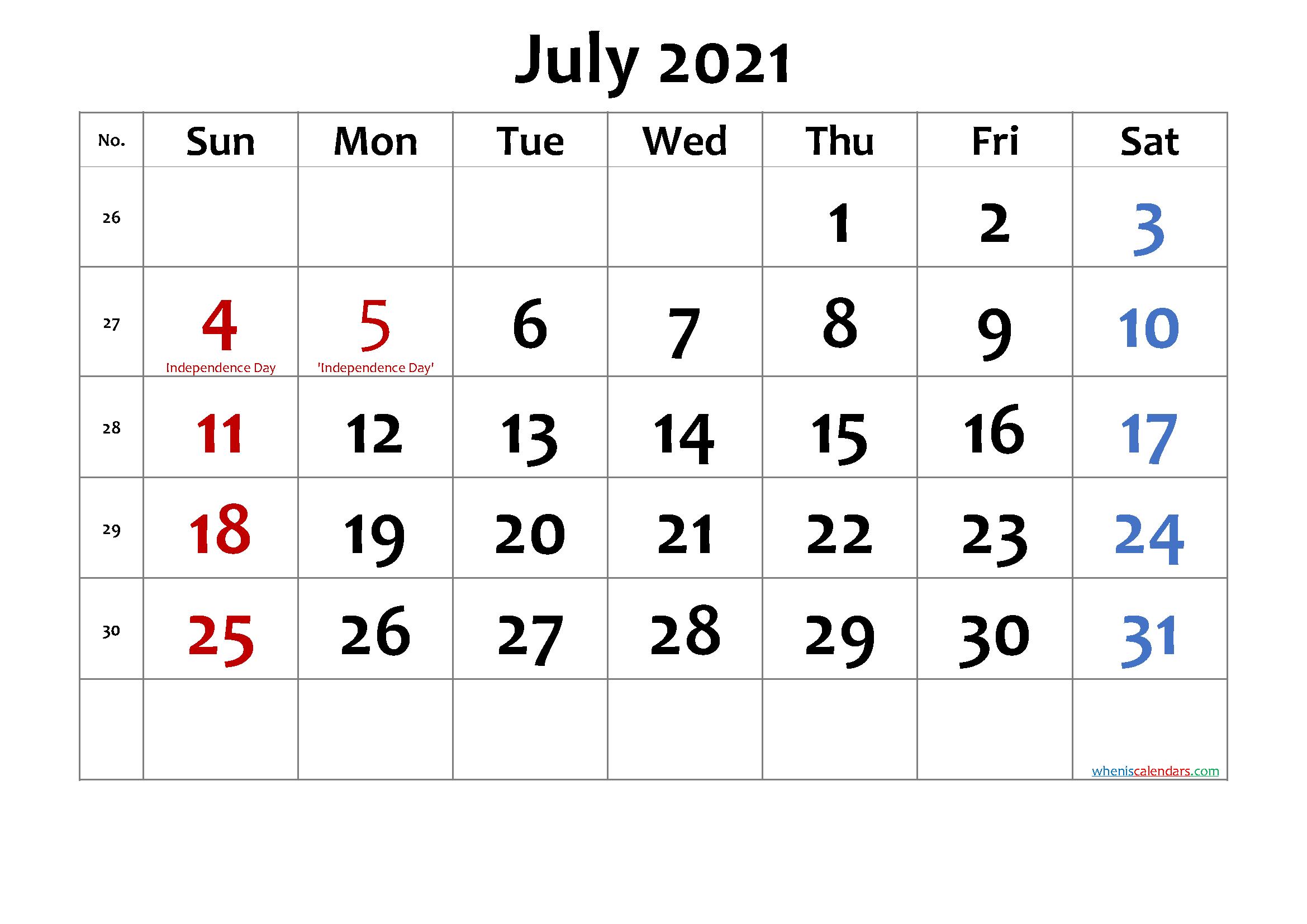 Free Printable July 2021 Calendar Calendar Printables Printable Calendar Template Calendar Template