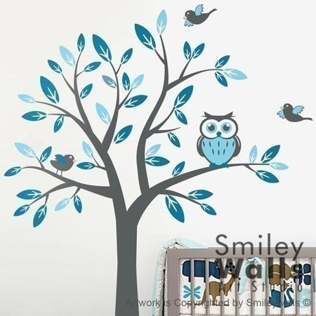Kids Nursery Vinyl Wall Decal Art   Tree With Owl And Birds  Children Baby  Wall
