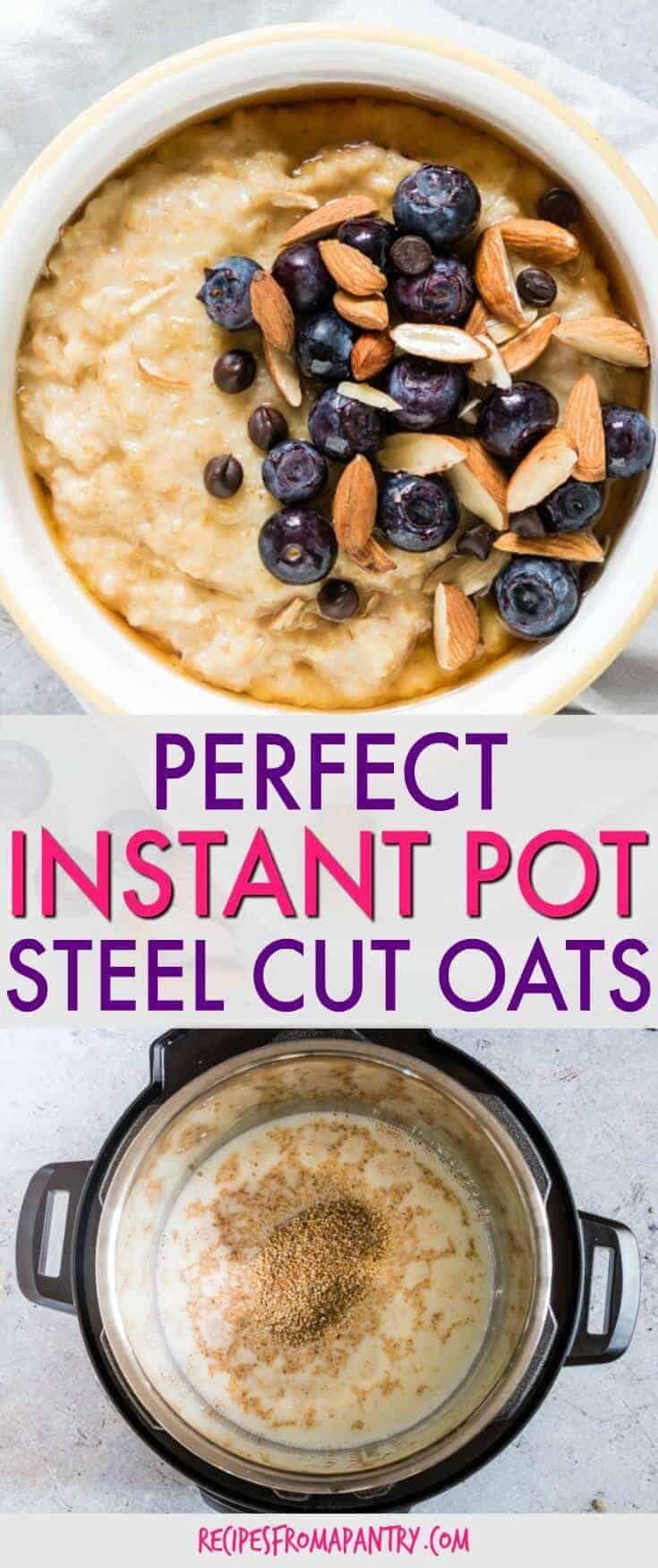 This EASY Instant Pot Steel Cut Oats recipe will make you excited for breakfast. Ready in just about 30 mins total, it makes a perfect Instant Pot breakfast recipe. #oats #oatmeal #instantpot #breakfast #steelcutoats #steelcutoatmeal #instantpotsteelcutoats