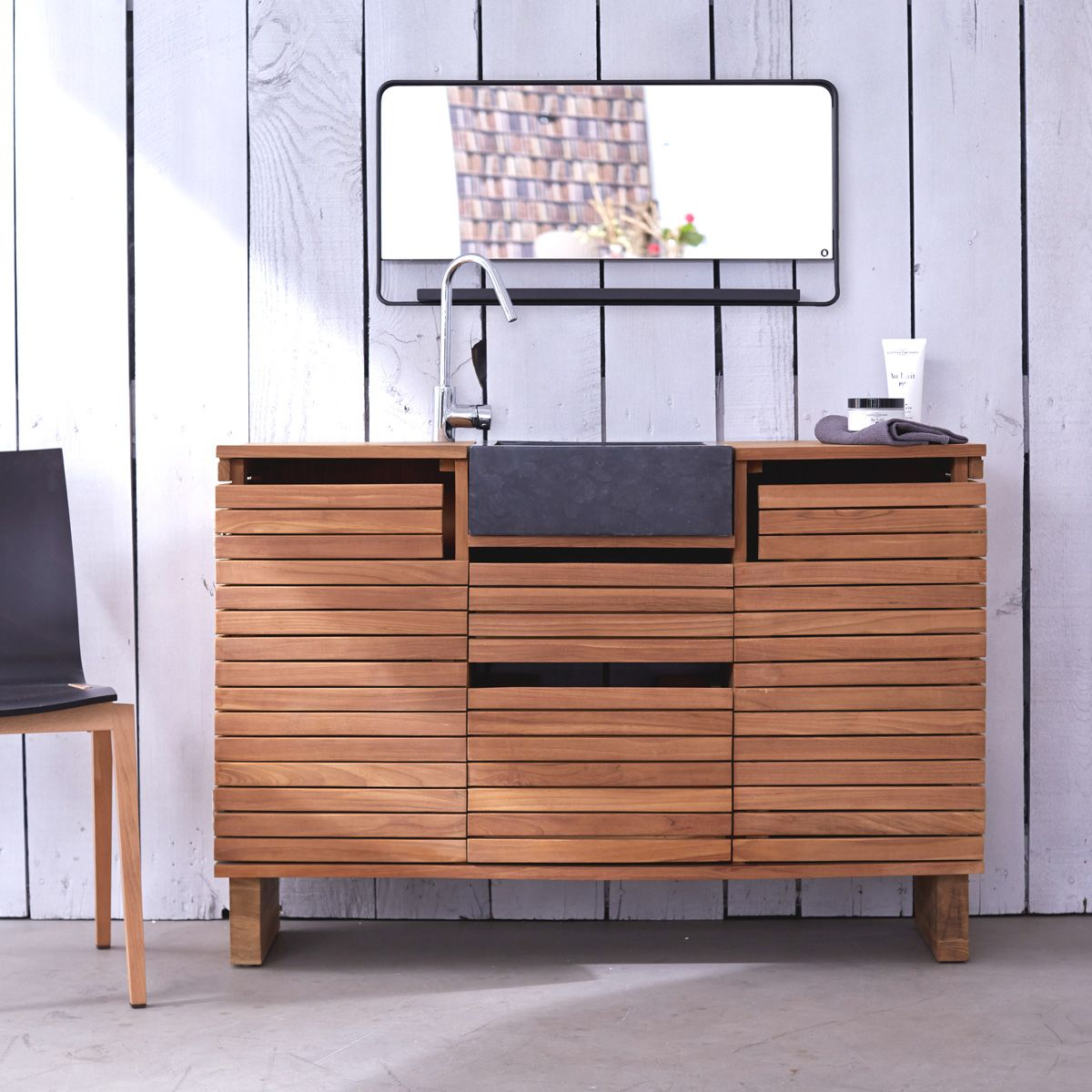Badmöbel aus Teak mit Waschbecken 120 Slats