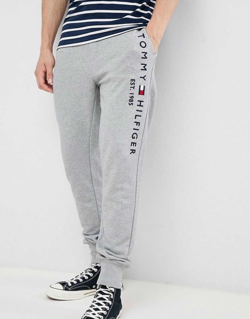Tommy Hilfiger Flag Logo Leg Cuffed Joggers In Gray Marl Gray Modesens Tommy Hilfiger Joggers Boy Activewear Mens Fashion Suits