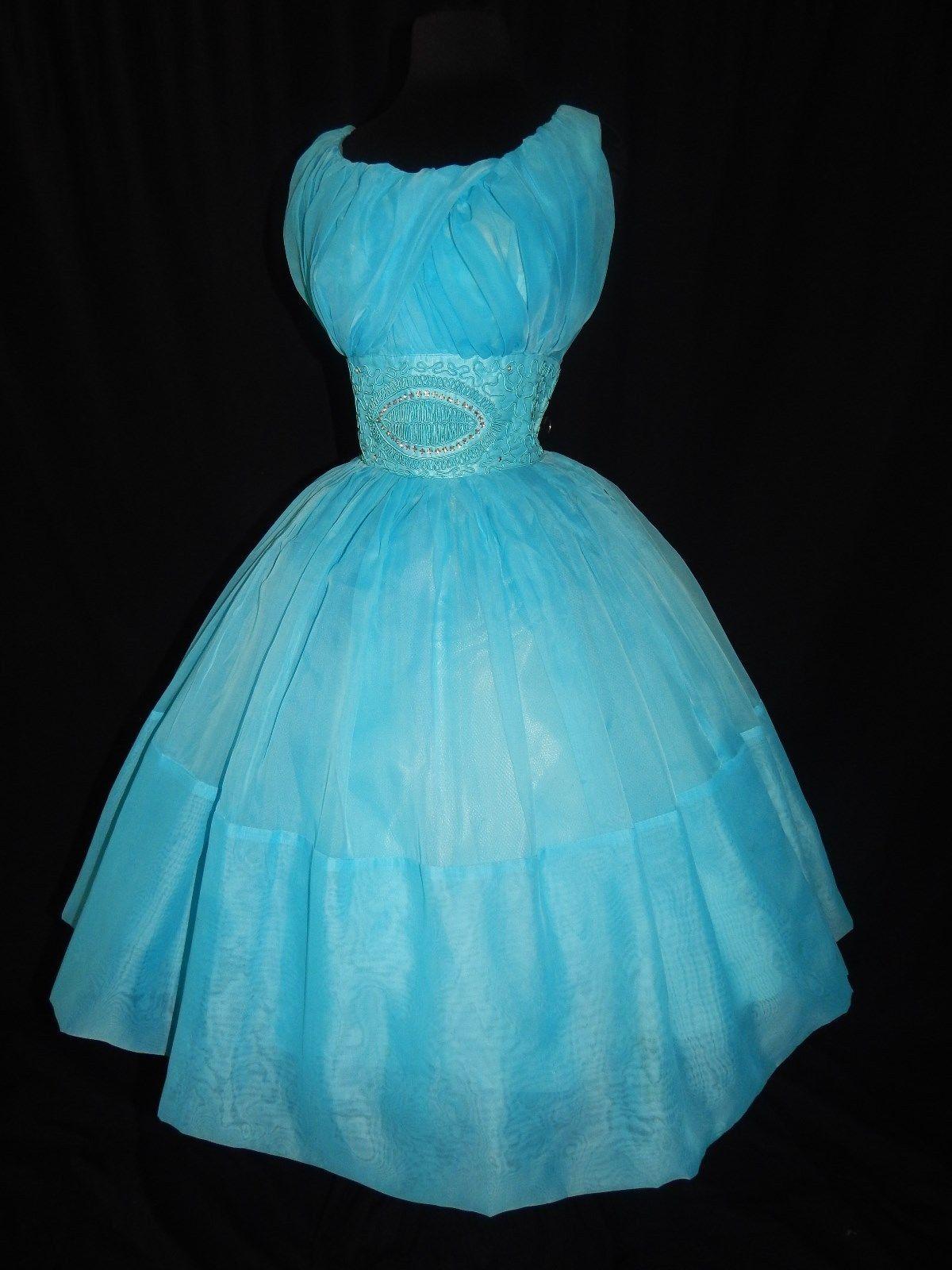 Vintage Gorgeous 1950\'s Sleeveless Silk Chiffon Turquoise Tulle ...
