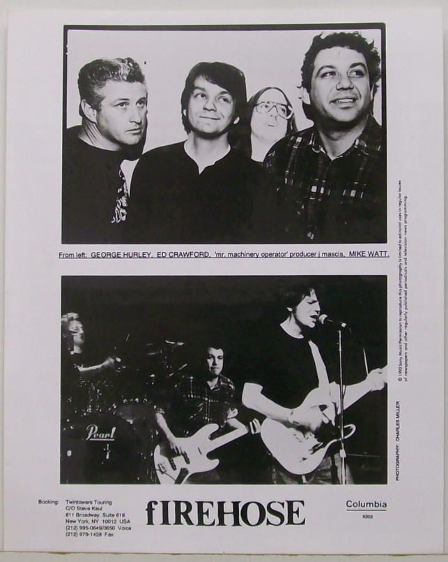"fIREHOSE were the band Mike Watt and George Hurley formed with Ed Crawford after the Minutemen broke up in 1985 following the mortal accident occured to singer guitarist D.Boon. They stayed with SST from 86-87 till '91, when they signed with Columbia Records. In this press photo you can see their ""producer"", J Mascis from Dinosaur Jr"