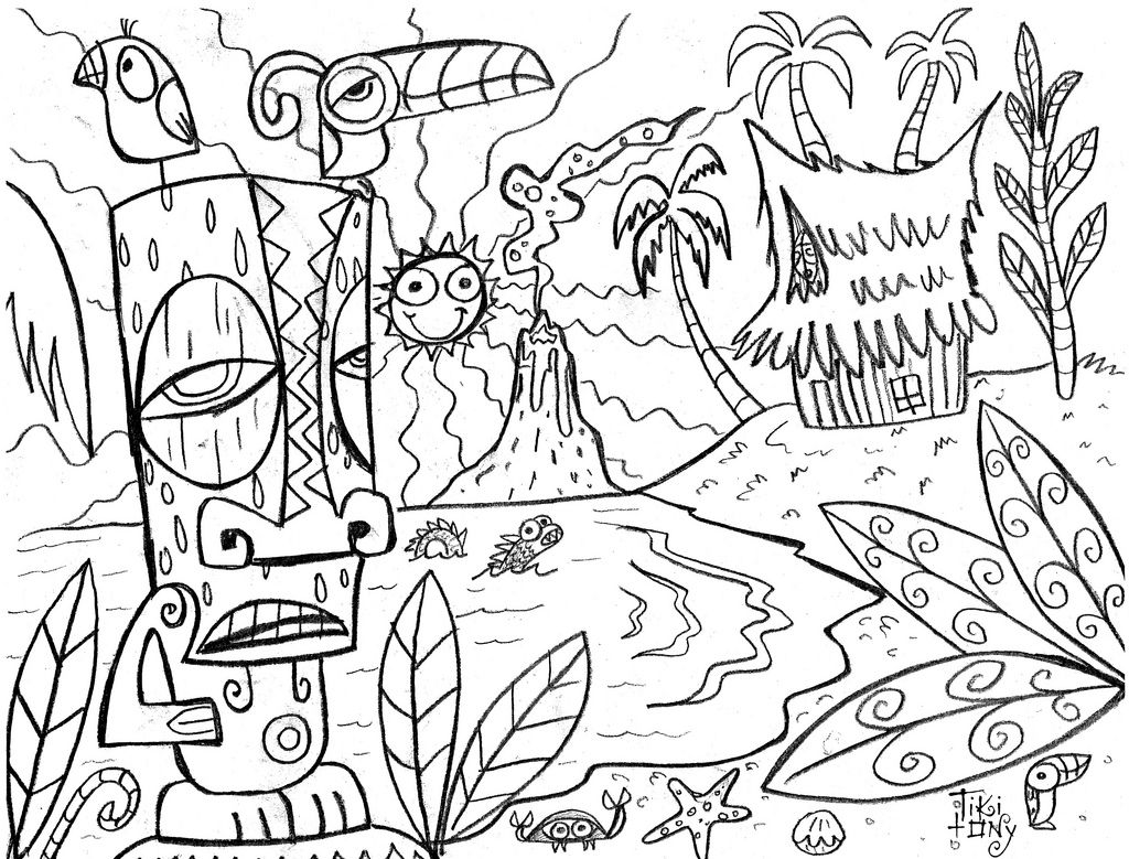Tiki Tony Coloring Page Tikitony Tags Island Hawaii Book Drawing
