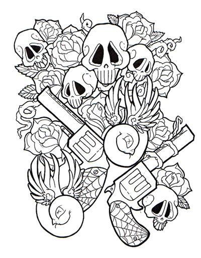 Design Tattoo Skulls Roses Guns Skull Coloring Pages Coloring Pages Coloring Book Art