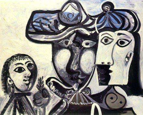 Pablo Picasso, 1969 Homme, femme et enfant on ArtStack #pablo-picasso #art