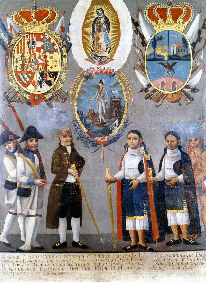 Suárez de Peredo, 'Alegoría de las autoridades españolas e indígenas', 1809 / Arte novohispano, colonia, colonial, mexico, mexicano, Nueva España