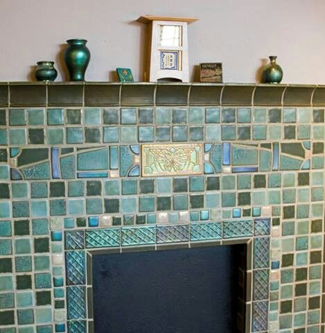 Pewabic Pottery Tile Fireplace Surround | Fireplaces | Pinterest ... Farbe Fur Kamin