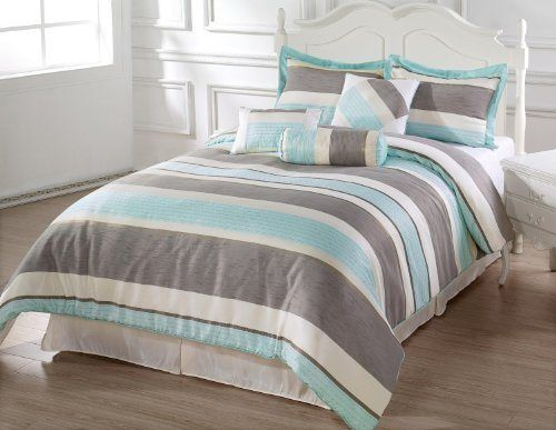 BACHELOR 7pc Comforter Set Light Blue, Beige, Gray Luxury Stripe Bed-In-A-Bag Queen Size Bedding