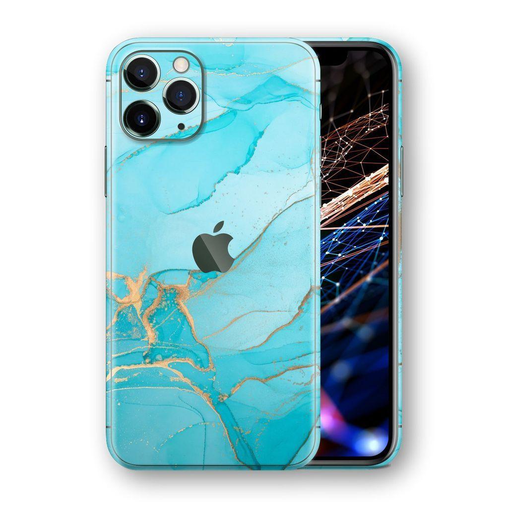 Iphone 11 Pro Max Signature Agate Geode Aqua Gold Skin Iphone 11 Iphone Gold Skin