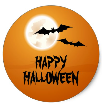 Happy Halloween With Bats And Full Moon Orange Sky Classic Round Sticker Happy Halloween Stickers Featuring Two B Halloween Stickers Happy Halloween Halloween