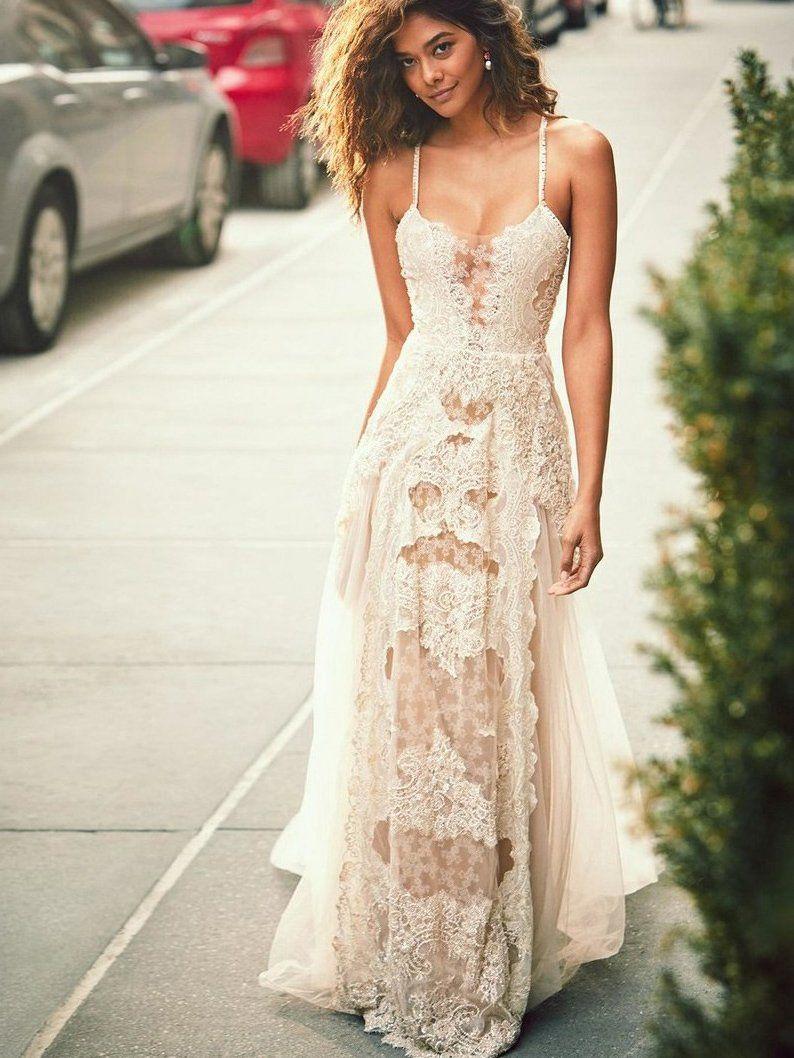 Aline spaghetti straps tulle beach wedding dress boho wedding gown