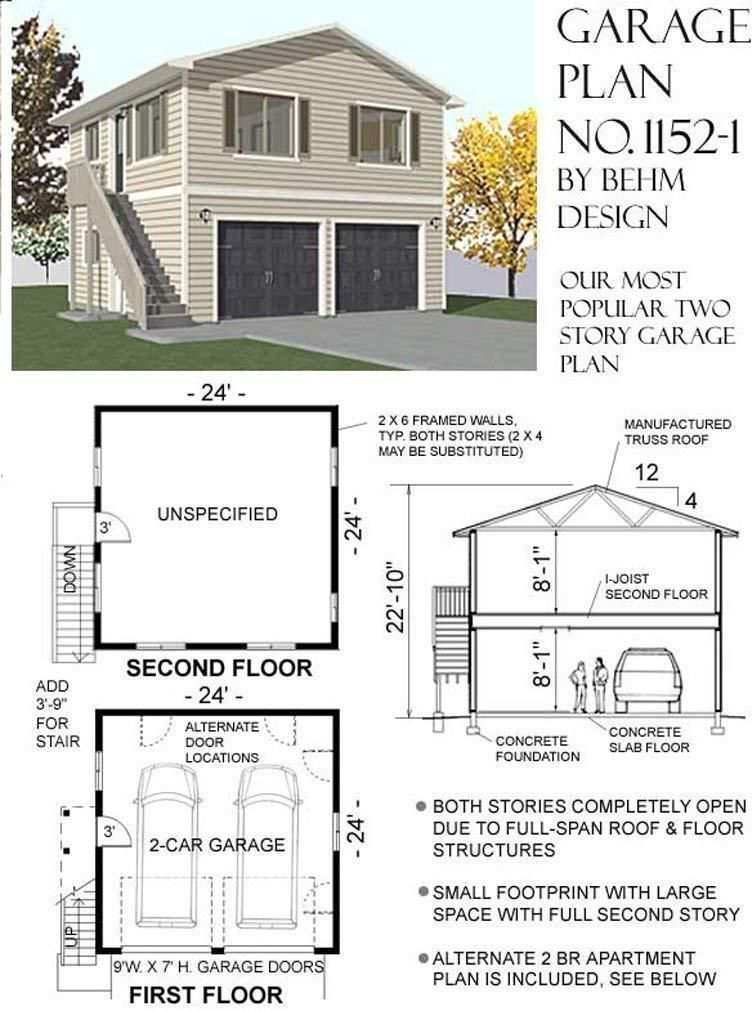 Garage Plans Two Car Two Story Garage With Apartment Outside Stairs Plan 1152 1 In 2020 Above Garage Apartment Two Story Garage Garage Plans
