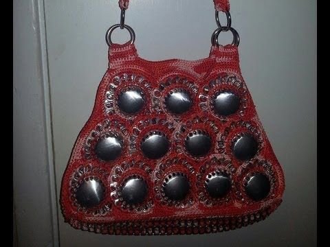 DIY: Recycle Project: Crochet a handbag with soda can bottoms and pop tabs Part 2 - YouTube
