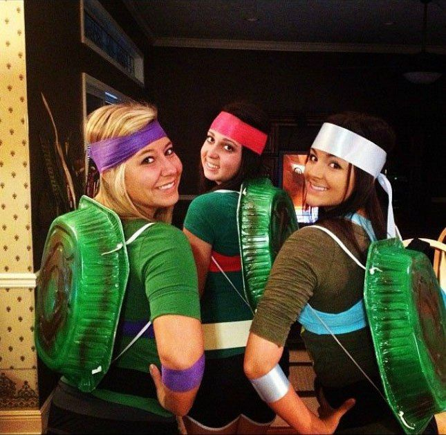 24 cheap and easy diy group costumes for halloween halloween be creative with your pals and spray paint disposable aluminum baking trays to use as your shells for these teenage mutant ninja turtles costumes solutioingenieria Image collections