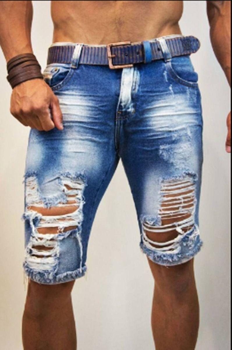 Resultado De Imagen Para Bermuda Jeans Masculina Rasgada Bermuda Jeans Masculina Jeans Masculino Bermuda Jeans