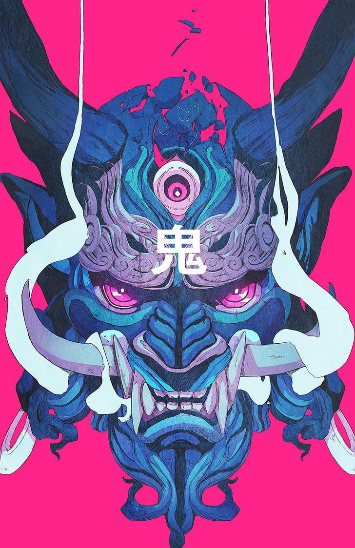 Hd wallpaper blue and gray oni mask digital wallpaper