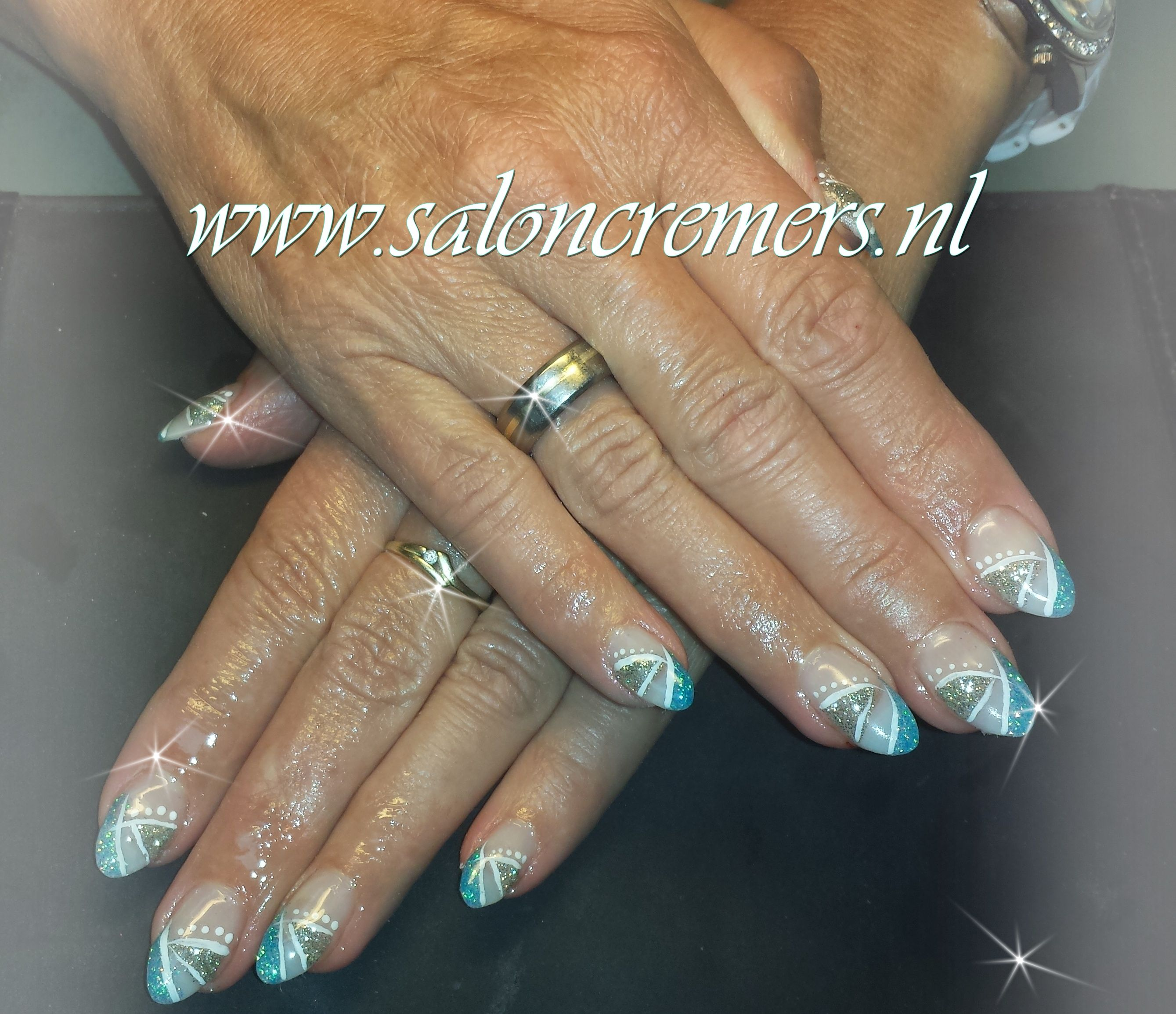 glittery blue and silver nail art almond nails | art / work ...
