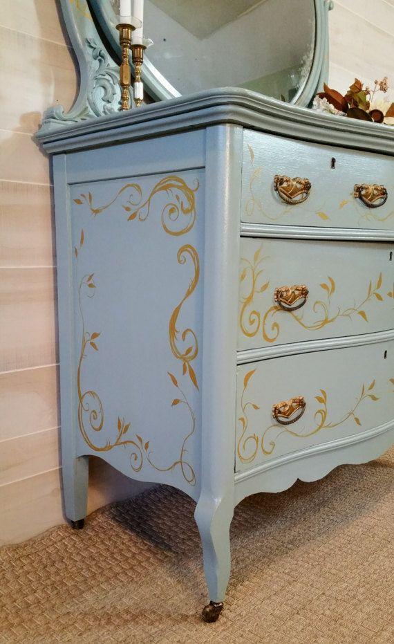 Dresser, Bedroom Dresser, Vintage Dresser, Dresser with Mirror ...