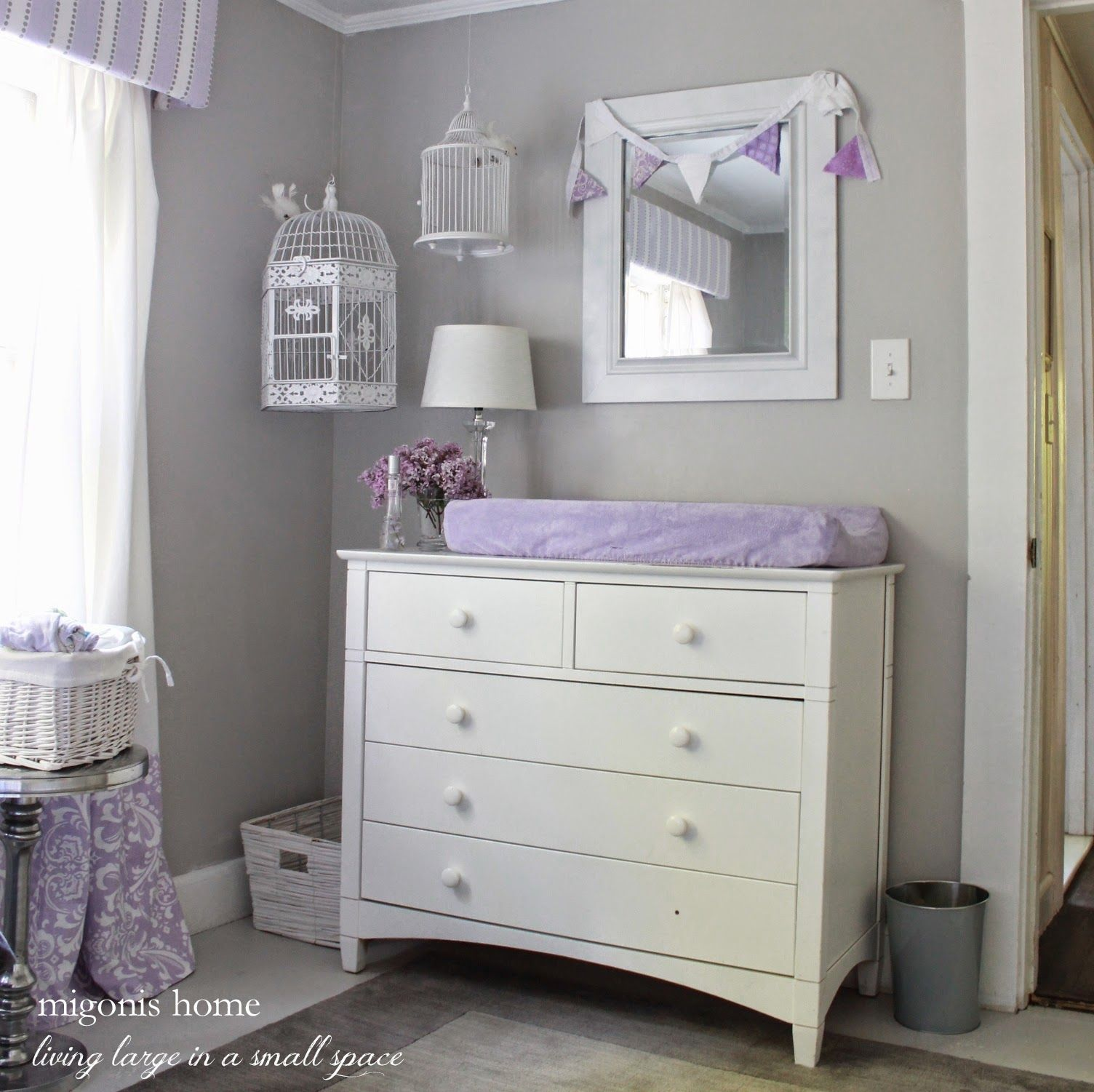 Girl\u0027s nursery in gray and lavender with hanging birdcages.   One ...
