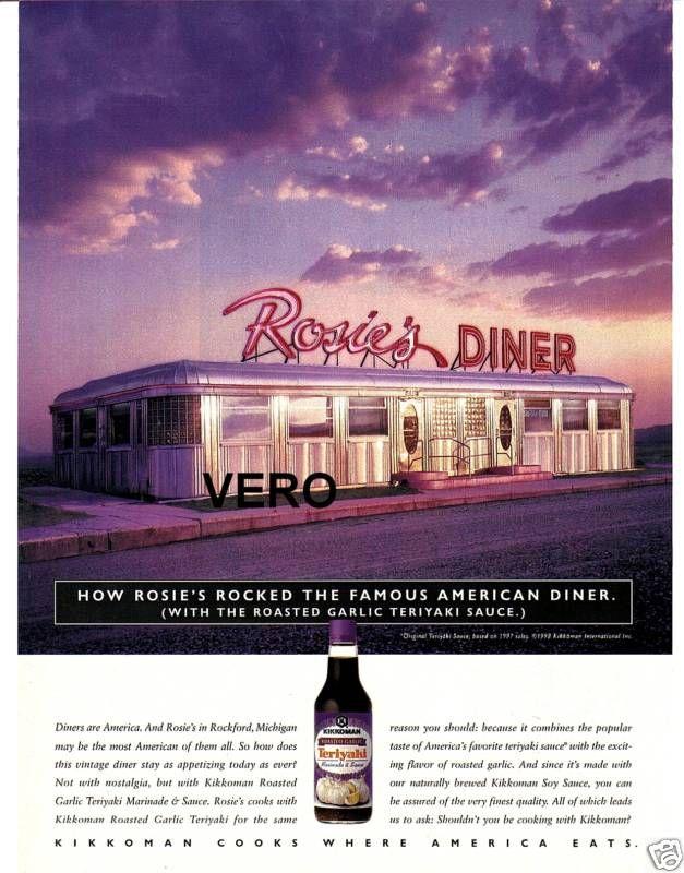 1998 Ad Kikkoman Rosies Diner Rockford Michigan Mi Ebay