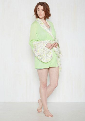 You'll feel graceful from the moment you arise and don this ModCloth-exclusive robe. Blossoming with bouquets of pastel wildflowers along its white trim, and touting luscious mint chiffon and dramatic bell sleeves, this wrapping layer is the sweet secret that brings joy to your being all morning!